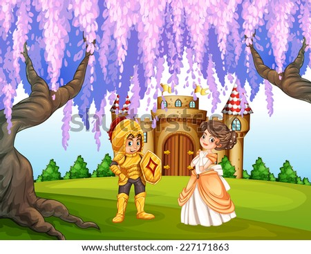 illustration of a knight and a princess - stock vector