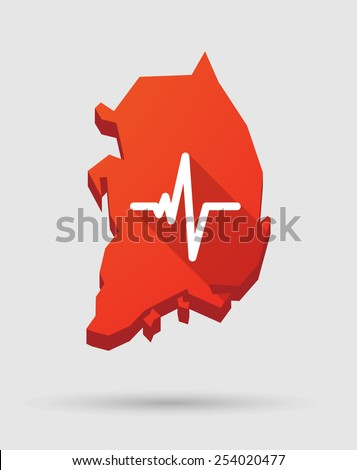 Illustration of a  Korea map with a heart beat sign - stock vector