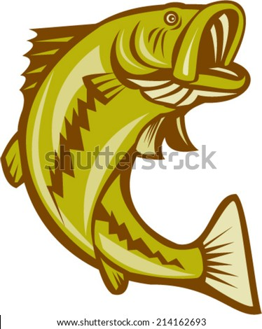 Illustration of a largemouth bass fish jumping done in cartoon style on isolated white background. - stock vector
