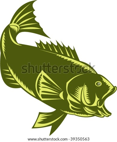 illustration of a Largemouth Bass  woodcut style - stock vector