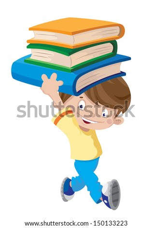 illustration of a laughing boy with books - stock vector