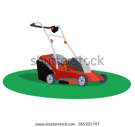 Illustration of a lawn mower on white background - stock vector