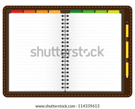 Illustration of a leather notebook with spiral, colorful tabs, pencil and blank lined paper - stock vector