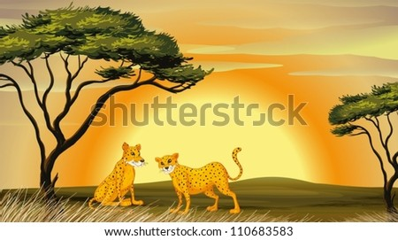 illustration of a leopard under the tree - stock vector