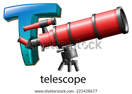 Illustration of a letter T for telescope on a white background    - stock vector