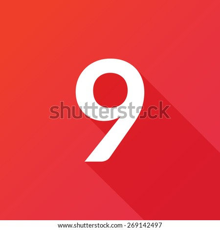 Illustration of a Letter with a Long Shadow - Letter 9. - stock vector