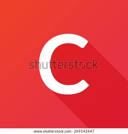 Illustration of a Letter with a Long Shadow - Letter C. - stock vector