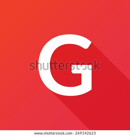 Illustration of a Letter with a Long Shadow - Letter G. - stock vector