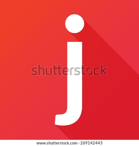 Illustration of a Letter with a Long Shadow - Letter J. - stock vector