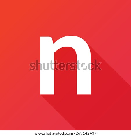Illustration of a Letter with a Long Shadow - Letter n. - stock vector