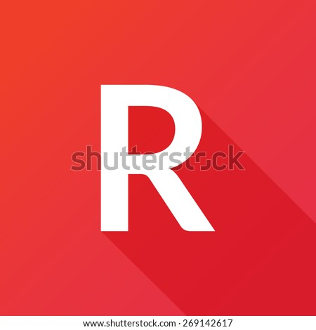Illustration of a Letter with a Long Shadow - Letter R. - stock vector