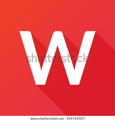 Illustration of a Letter with a Long Shadow - Letter W. - stock vector