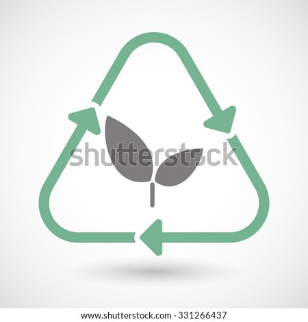 Illustration of a line art recycle sign icon with a plant - stock vector