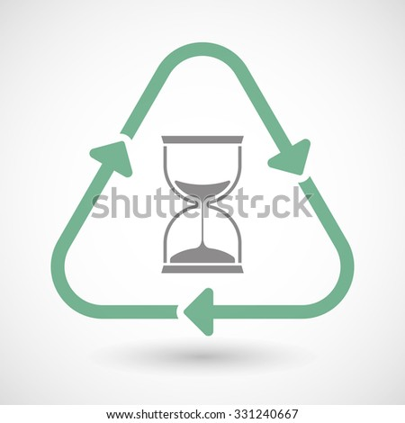 Illustration of a line art recycle sign icon with a sand clock - stock vector