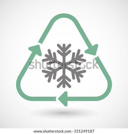 Illustration of a line art recycle sign icon with a snow flake - stock vector