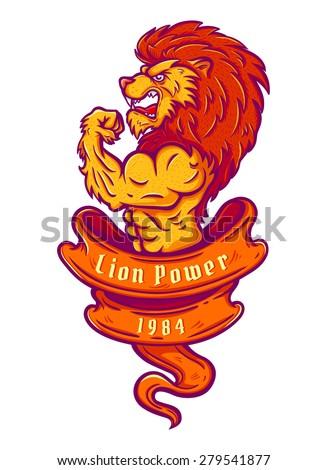 Illustration of a lion bodybuilder - stock vector