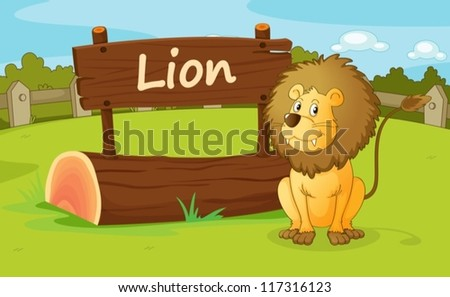 illustration of a lion in a beautiful nature - stock vector