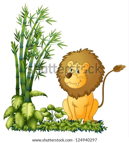 Illustration of a lion showing his sharp jaw on a white background - stock vector