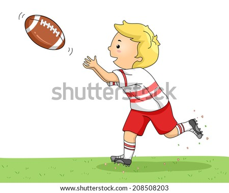 Illustration of a Little Boy Catching a Football - stock vector