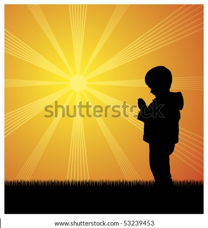Illustration of a little boy. He stands and prays. Behind him the sun shines brightly. - stock vector