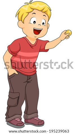 Illustration of a Little Boy Inserting a Coin in an Imaginary Machine - stock vector