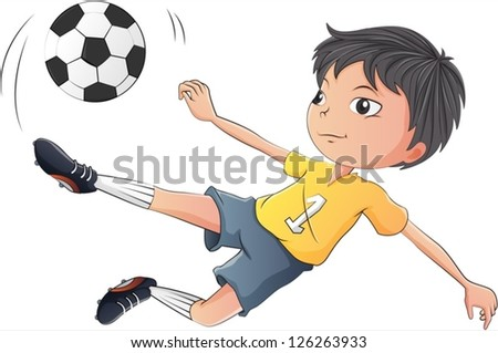 Illustration of a little boy playing soccer on a white background - stock vector