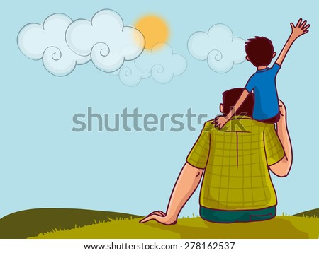 Illustration of a little boy sitting on his daddy's shoulder on nature background for Happy Father's Day celebration. - stock vector