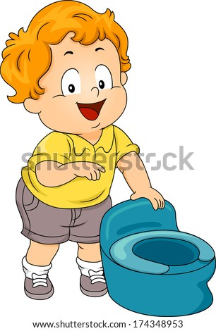 Illustration of a Little Boy Standing Beside a Potty - stock vector