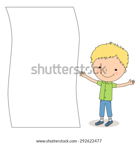 Illustration of a little cartoon boy standing near big empty sheet of paper on the white background. - stock vector