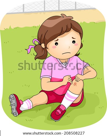 Illustration of a Little Football Player Checking Her Injured Knee - stock vector