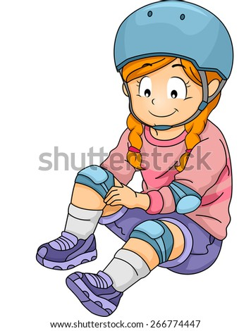 Illustration of a Little Gear Putting on Some Safety Gear - stock vector