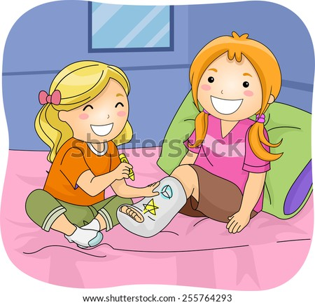 Illustration of a Little Girl Drawing Doodles on Her Friend's Leg Cast - stock vector