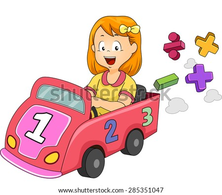 Illustration of a Little Girl Driving a Toy Car Designed with Numbers and Mathematical Symbols - stock vector