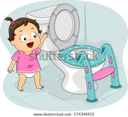 Illustration of a Little Girl Flushing the Toilet - stock vector