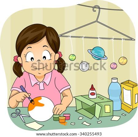 Illustration of a Little Girl Making a Homemade Solar System Model - stock vector