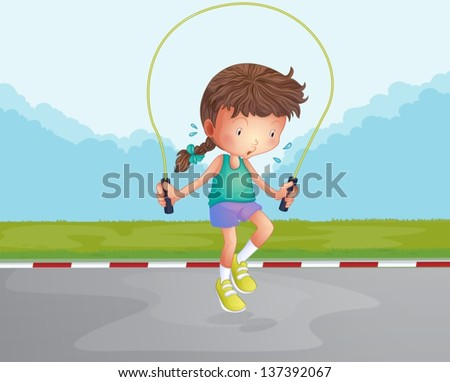 Illustration of a little girl playing jumping rope at the road - stock vector