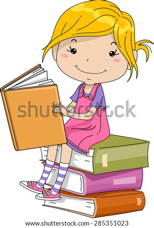 Illustration of a Little Girl Sitting on a Pile of Thick Books - stock vector