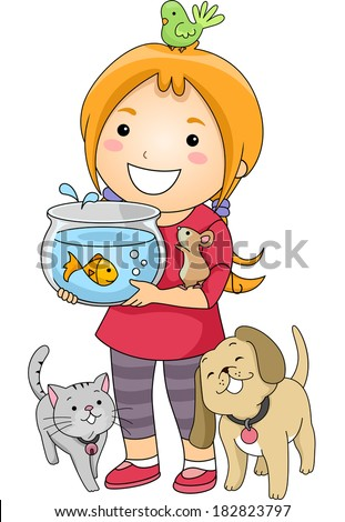Illustration of a Little Girl Surrounded by Different Types of Pets - stock vector