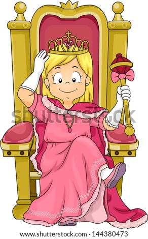 Illustration of a Little Kid Girl Princess Sitting on her Throne - stock vector