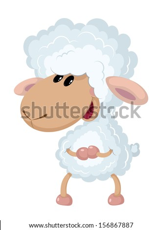 illustration of a little lamb - stock vector
