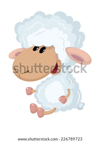 illustration of a little lamb sits - stock vector
