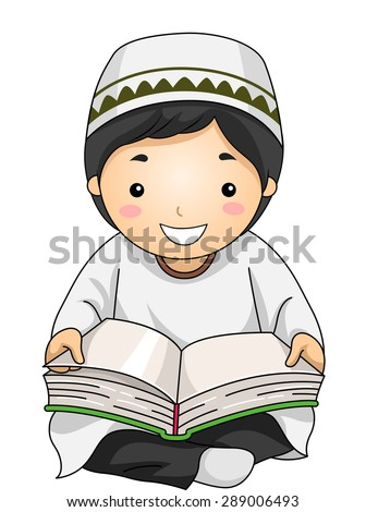 Illustration of a Little Muslim Boy Reading the Quran - stock vector