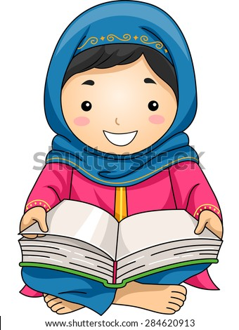 Illustration of a Little Muslim Girl Reading the Quran - stock vector