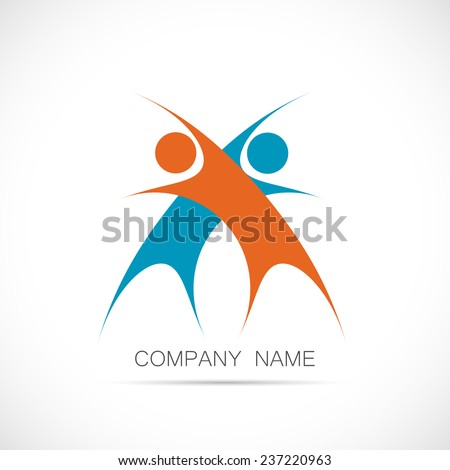 Illustration of a logo design of two abstract figures isolated on a white background. - stock vector