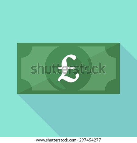 Illustration of a long shadow banknote icon with a pound sign - stock vector