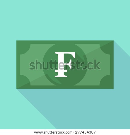 Illustration of a long shadow banknote icon with a swiss franc sign - stock vector