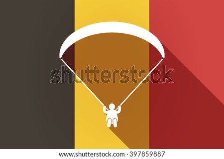 Illustration of a long shadow Belgium flag with a paraglider - stock vector
