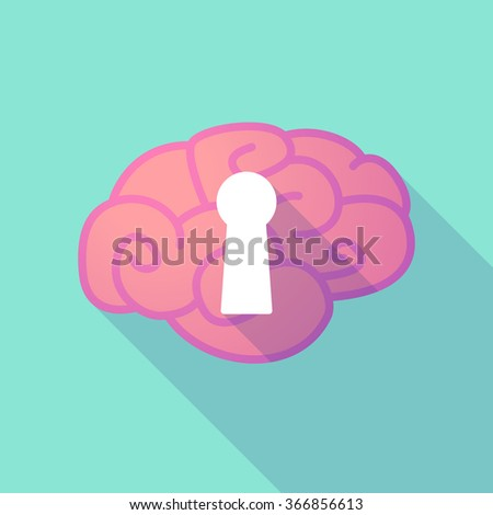 Illustration of a long shadow brain with  a key hole - stock vector
