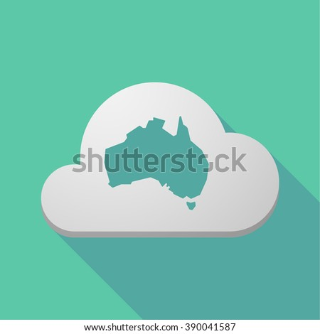Illustration of a long shadow cloud icon with  a map of Australia - stock vector