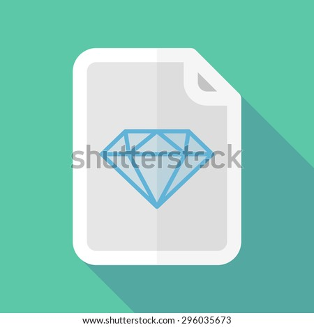 Illustration of a long shadow document icon with a diamond - stock vector